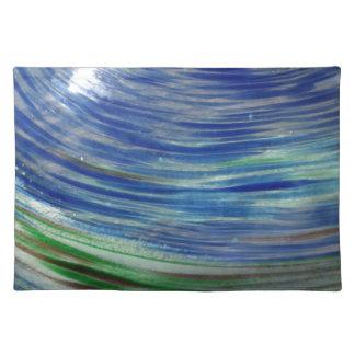 青および緑は円形で渦巻きます ランチョンマット