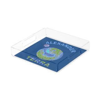 青および緑大地の惑星の地球の宇宙のオタク アクリルトレー