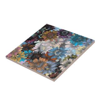 青および茶色の花柄 タイル