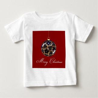 青および赤いクリスマスのつまらないもののオーナメント ベビーTシャツ