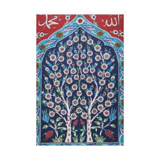 青および赤いトルコ語は生命の樹をタイルを張ります キャンバスプリント