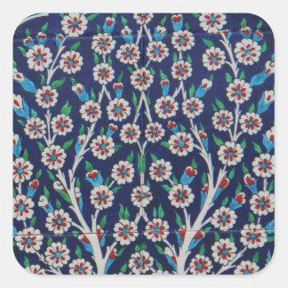 青および赤いトルコ語は生命の樹をタイルを張ります スクエアシール