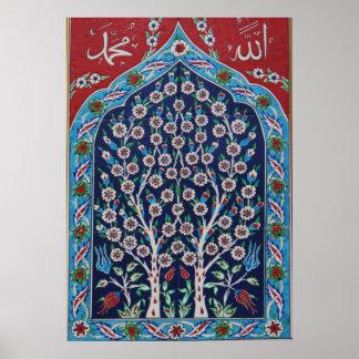 青および赤いトルコ語は生命の樹をタイルを張ります ポスター