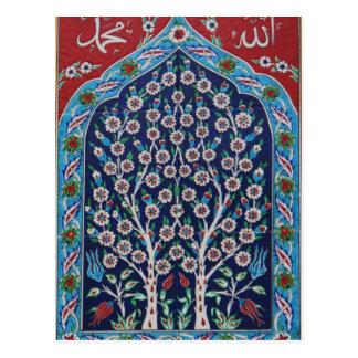 青および赤いトルコ語は生命の樹をタイルを張ります ポストカード