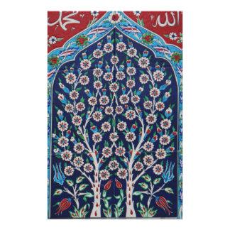 青および赤いトルコ語は生命の樹をタイルを張ります 便箋