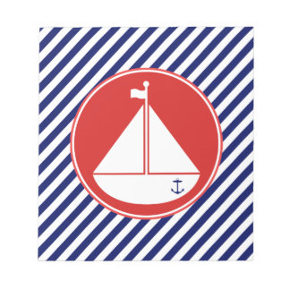 青および赤いヨット ノートパッド