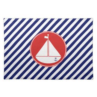 青および赤いヨット ランチョンマット