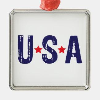 青および赤い動揺してな米国 メタルオーナメント