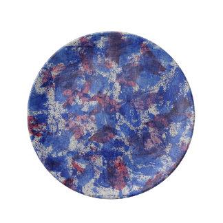 青および赤い水彩画 磁器プレート