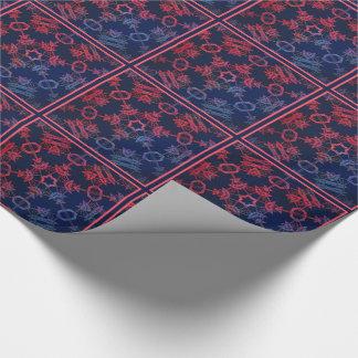 青および赤い白熱曼荼羅によってタイルを張られる紙 ラッピングペーパー