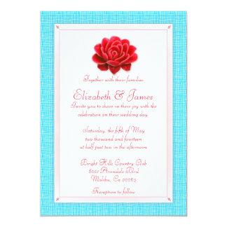 青および赤い結婚式招待状 12.7 X 17.8 インビテーションカード