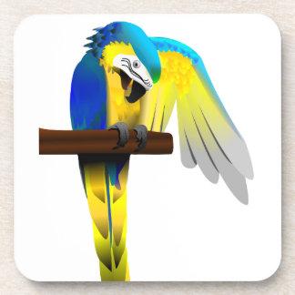 青および金ゴールドのコンゴウインコのオウムのプリント コースター