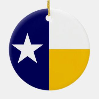 青および金ゴールドのテキサス州の旗 セラミックオーナメント