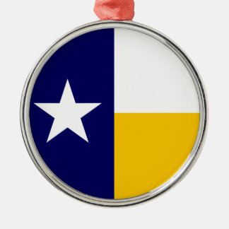 青および金ゴールドのテキサス州の旗 メタルオーナメント