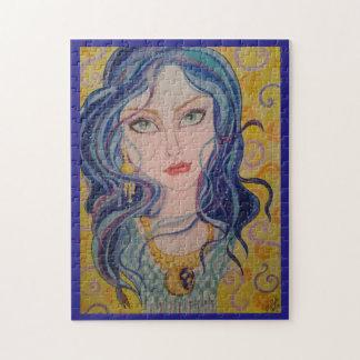 青および金ゴールドのパズルの女性 ジグソーパズル