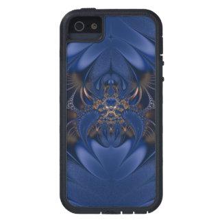 青および金ゴールドのフラクタルのくものiPhone 5の場合 iPhone SE/5/5s ケース