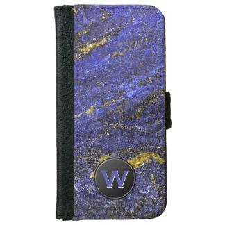 青および金ゴールドのラピスラズリのモノグラム iPhone 6/6S ウォレットケース