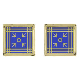 青および金ゴールドの中世パターン(の模様が)あるなカフスボタン ゴールド カフスボタン