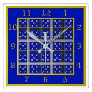 青および金ゴールドの中世時計 スクエア壁時計