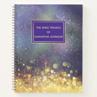 青および金ゴールドの宇宙の星団 ノートブック
