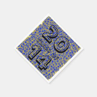青および金ゴールドの星の団結心のスポーツ色 スタンダードカクテルナプキン