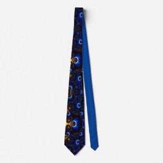 青および金ゴールドの星雲 オリジナルネクタイ