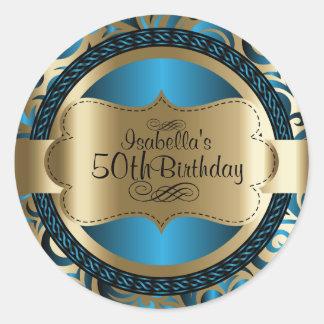 青および金ゴールドの渦巻の抽象芸術の誕生日 ラウンドシール