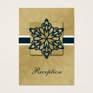 青および金ゴールドの雪片の冬の結婚式 名刺