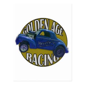 青および金ゴールドを競争させる黄金時代のWillys Gasserのドラッグ ポストカード