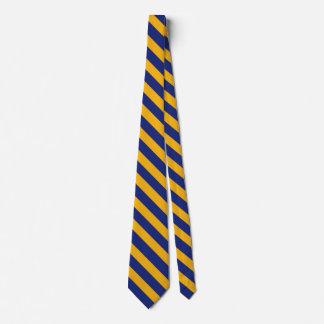 青および金ゴールド大学ストライプのタイ ネクタイ