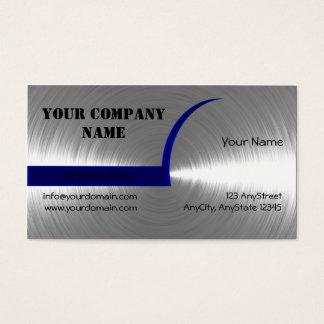 青および銀によってブラシをかけられる金属の名刺 名刺
