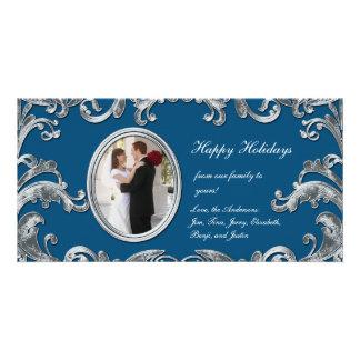 青および銀の華麗さの写真カード カード