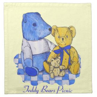 青および黄色かわいいテディー・ベアの静物画の芸術 ナプキンクロス