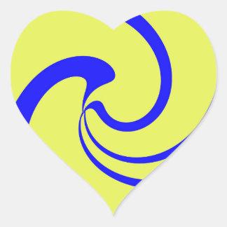 青および黄色のねじれ ハートシール