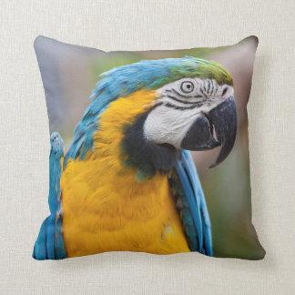 青および黄色のコンゴウインコの枕 クッション