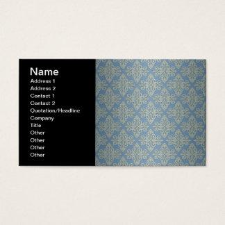 青および黄色のダマスク織パターン 名刺