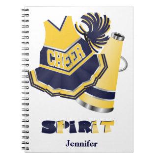 青および黄色のチアリーダーのノート スパイラルノート