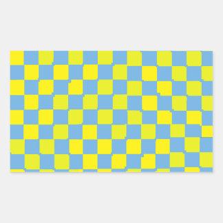 青および黄色のチェッカー 長方形シール