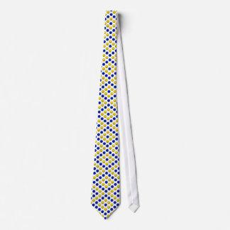 青および黄色のバスケットボールパターン カスタムネクタイ