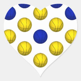 青および黄色のバスケットボールパターン ハートシール