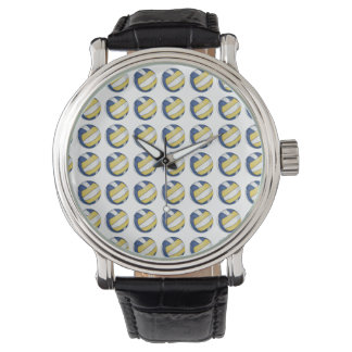 青および黄色のバレーボールパターン 腕時計