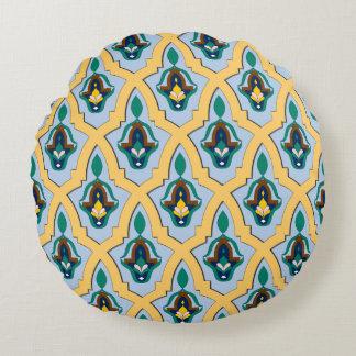 青および黄色のモロッコのアラビアtraceryパターン ラウンドクッション