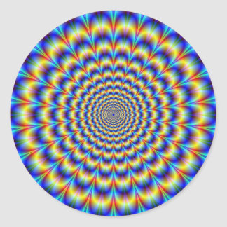 青および黄色の円形のステッカーのサイケデリックな脈拍 ラウンドシール