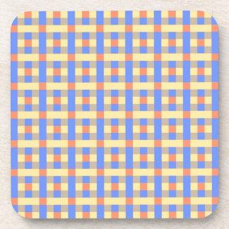 青および黄色の格子縞 コースター