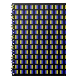 青および黄色の正方形のパターン ノートブック