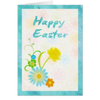 青および黄色の花のハッピーイースターカード カード