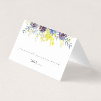 青および黄色の花のランタンの結婚式 プレイスカード