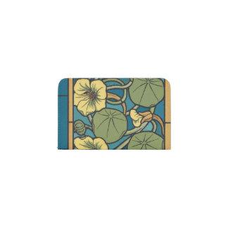 青および黄色の花パターン 名刺入れ