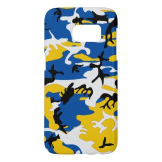 青および黄色の迷彩柄 SAMSUNG GALAXY S7 ケース