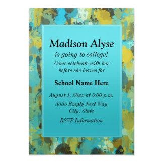 """青および黄色は""""大学に""""招待を絵を描きます カード"""